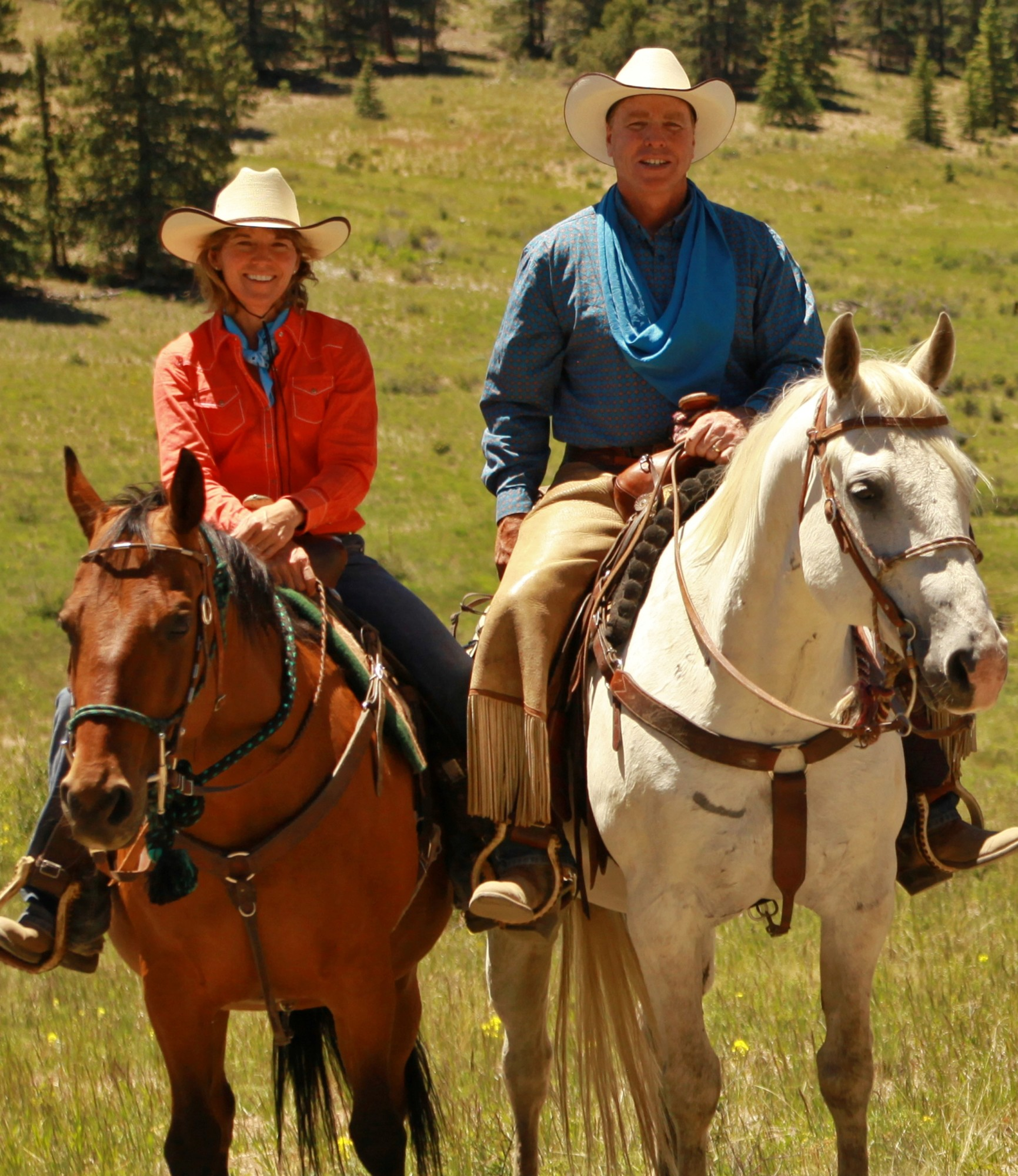 Tom and Sue on horseback